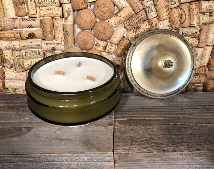 Vintage  XL green candy dish with lid filled with a soy candle, Bohemian Queen scent. SHIPS FREE!