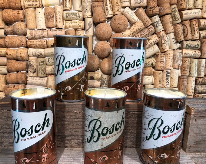 Vintage Bosch Fishing Beer Can Candle, Forest Floor Scent, Free Shipping
