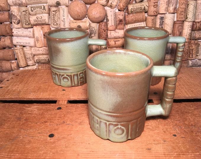 Trio of Vintage Frankoma green mugs