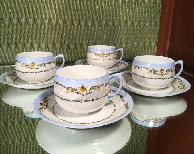 FREE SHIPPING! Set of Four D & B Blue Floral Tea Cups and Saucers, bone china, Germany