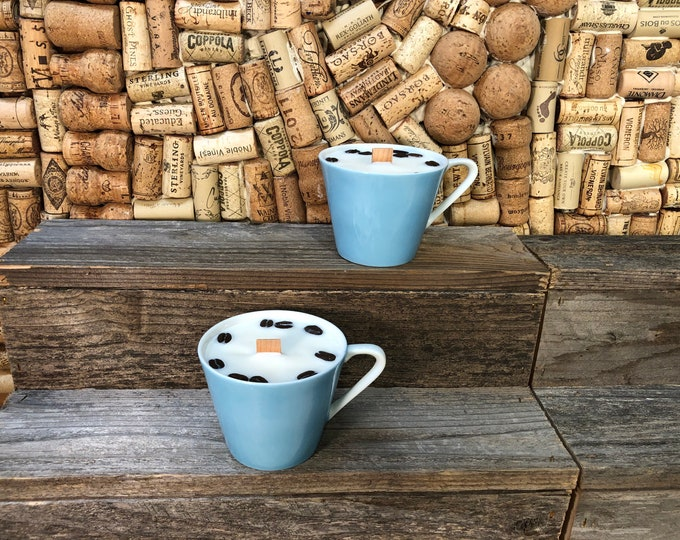 FREE SHIPPING! Pair of Blue Vintage Mugs, Soy Hazelnut Coffee scented candle, Wood Wick