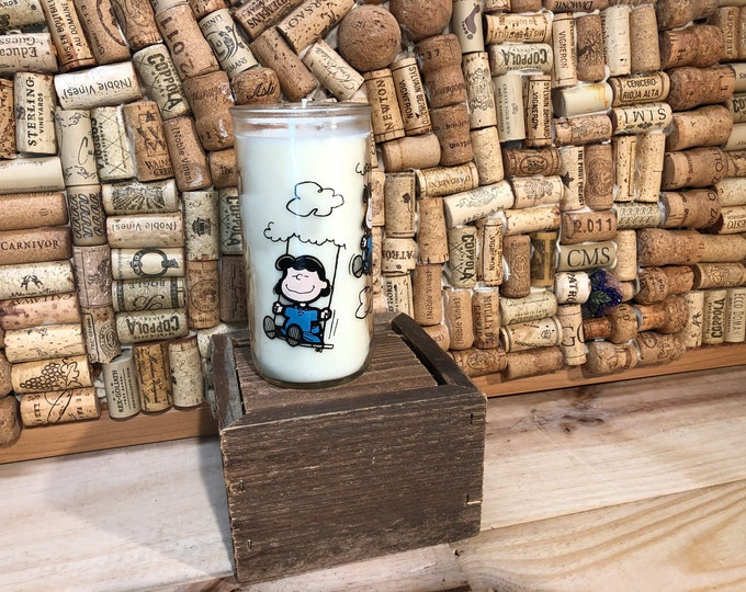 SHIPS FREE!  Vintage Charlie Brown Lucy Glass  filled with our Girl Gang scented soy candle