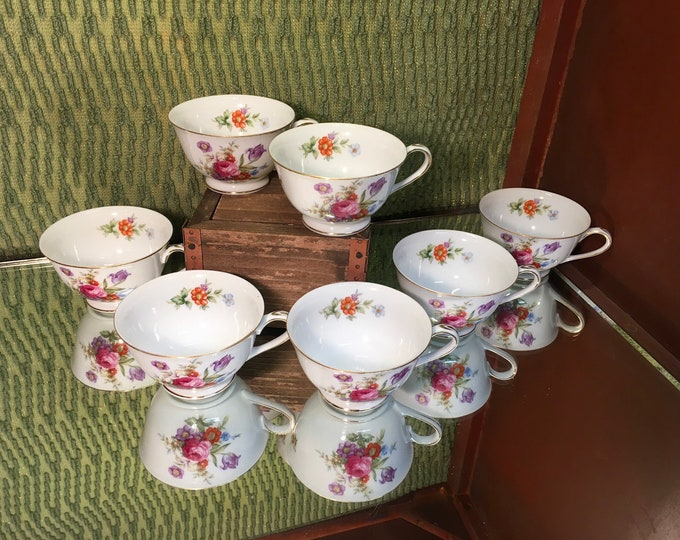 FREE SHIPPING! Set of Seven Harmony House Dresdania Rose Floral Tea Cups