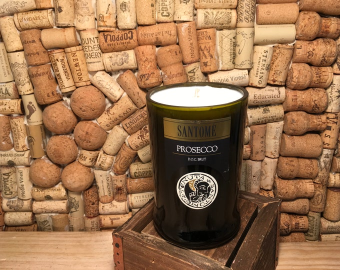 FREE SHIPPING!  Santome Prosecco Brut Bottle Soy Candle, Sangria scent