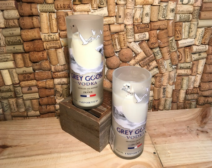 FREE SHIPPING! Soy candle in a Grey Goose Vodka Bottle, choose your scent