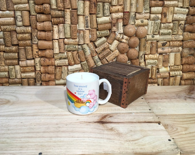 FREE SHIPPING! Vintage Care Bears Rainbow mug, Soy Fruity Bergamot scented candle