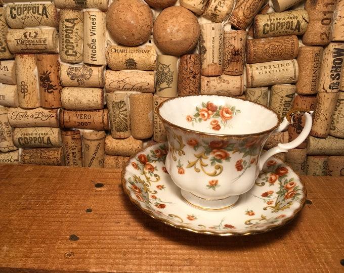 Vintage Royal Albert Rose Floral Sheraton Series Belinda Tea Cup and Saucer, bone china, England