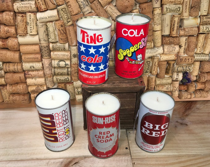 FREE SHIPPING! Vintage Soda Pop can soy candle, Choose your can, Amber & Caramel scent