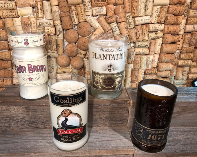 Soy candle in a recycled Rum Bottle, Smoky Embers scent, Choose your Bottle