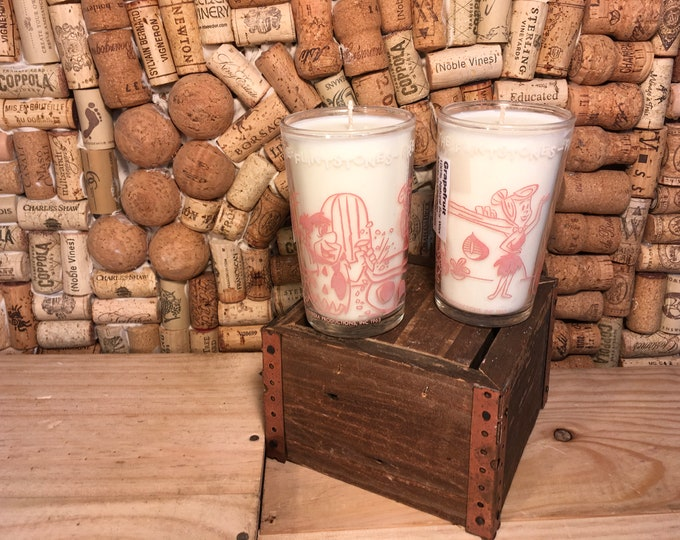 FREE SHIPPING! Pair of Vintage Pink Flintstones Juices Glasses, Soy Grapefruit Candle scent