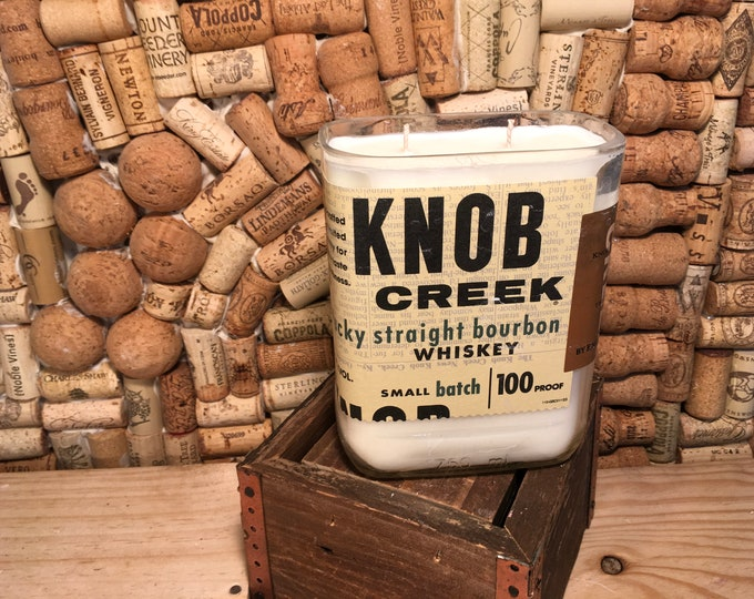 FREE SHIPPING! Knob Creek Kentucky Straight Bourbon Whiskey soy candle, Gypsy Spirit scent. Double wick!