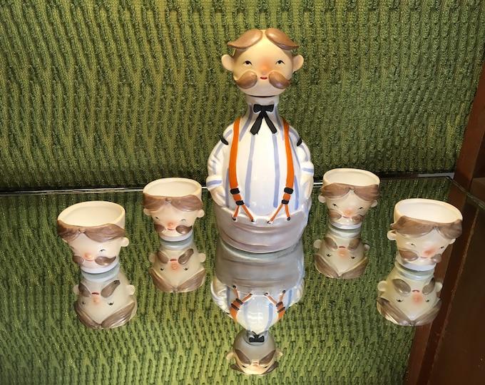 FREE SHIPPING! Vintage Lefton ceramic Bartender Decanter with four shot glasses