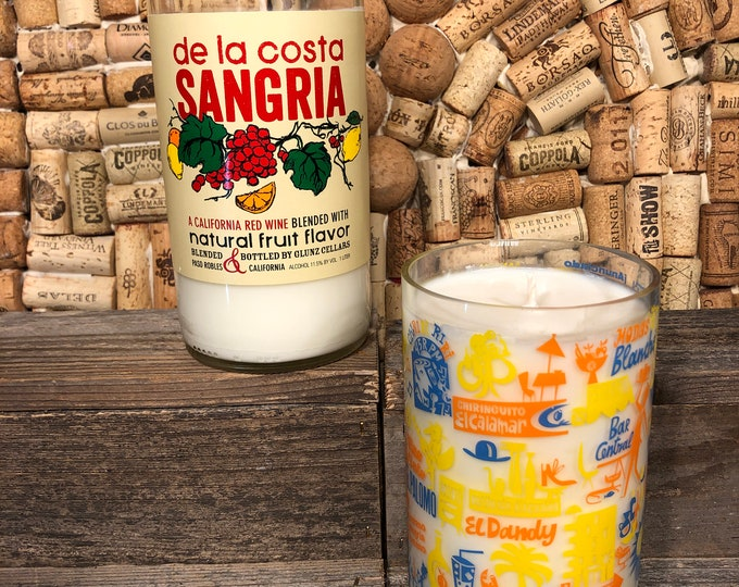 Recycled Sangria Bottle w a Sangria Scented Soy candle