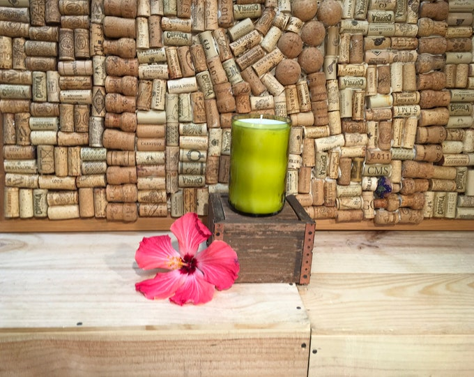 FREE SHIPPING! Recycled Wine bottle with a Champagne Cocktail scented soy candle