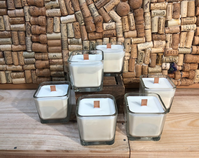 FREE SHIPPING! Square Glass Jar With A Wood Wick In Forest Floor Scent