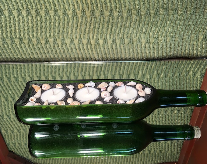 FREE SHIPPING! Triple votive Sideways Bottle Green Wine Bottle, choose your scent