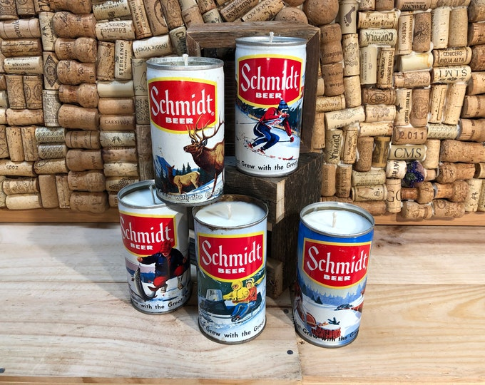 FREE SHIPPING! Vintage Schmidt Collectors Series Beer Can Candle, Choose your Can