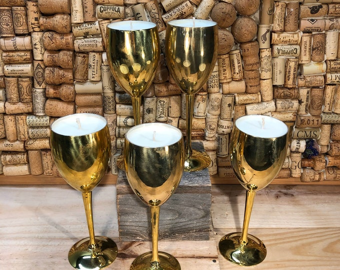 FREE SHIPPING! Vintage Brass Wine Glass, Champagne Cocktail scented candle