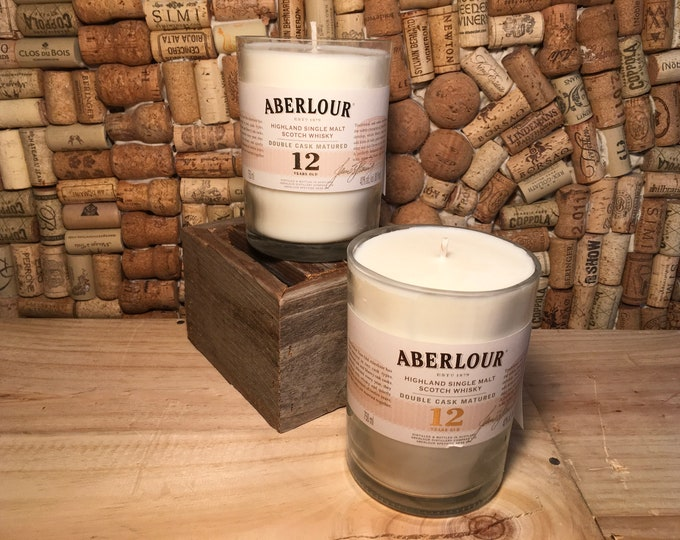 FREE SHIPPING Aberlour Scotch Whiskey soy candle, Indian Sandalwood. Two available!