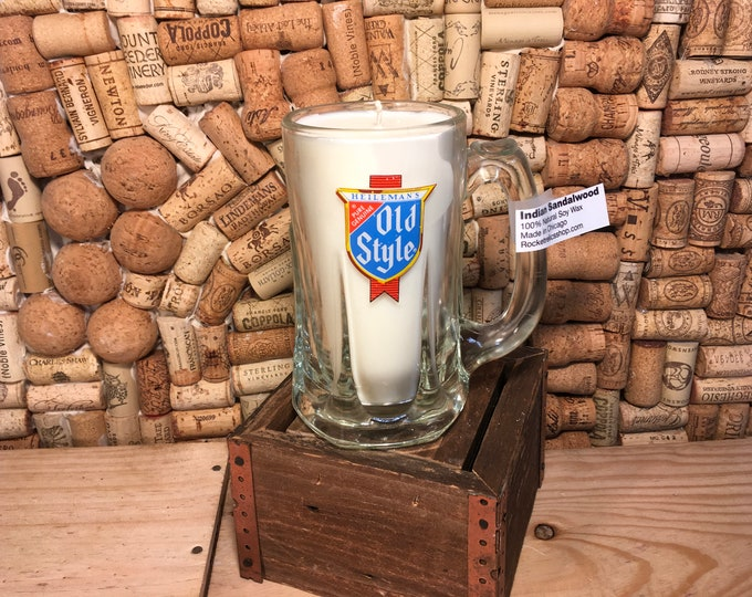 FREE SHIPPING! Vintage Old Style glass mug with a Soy Indian Sandalwood Candle