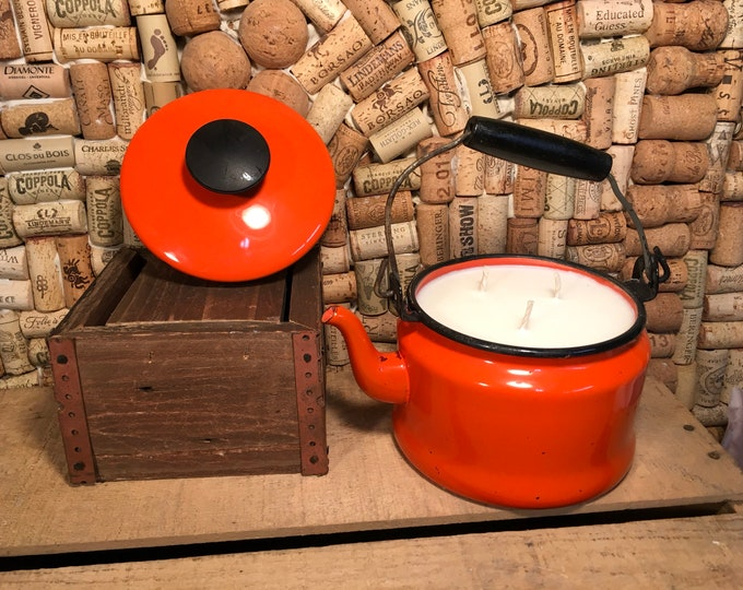 Vintage Orange Tea Kettle with a Triple wick Soy Smoky Embers scented Candle