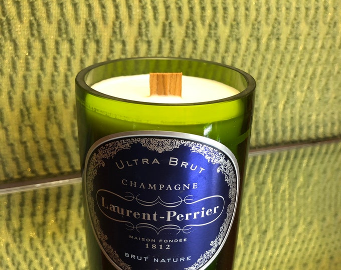 Laurent Perrier Brut Champagne  Bottle, Wood Wick Candle, Champagne Cocktail Scent