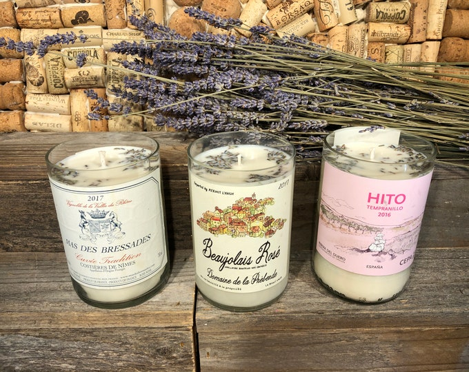 Recycled Rose Wine bottle Soy candle, Lavender scent, Choose your label