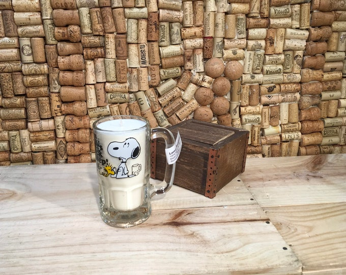 FREE SHIPPING! Vintage Snoopy Mug with a Soy Lemon Eucalyptus Candle