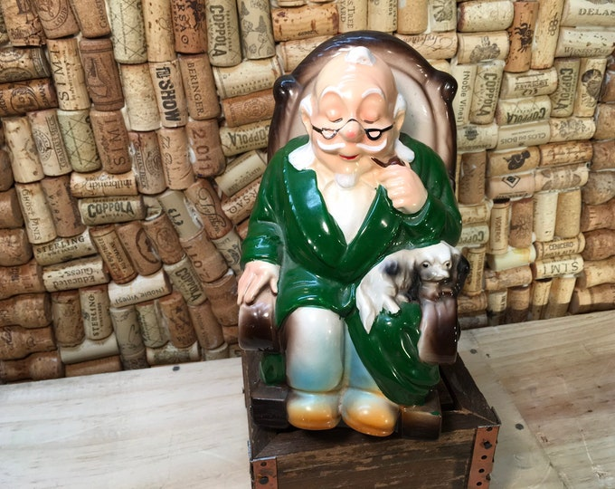 FREE SHIPPING! Vintage Retirement Fund Grandpa Rocking Chair Coin Bank