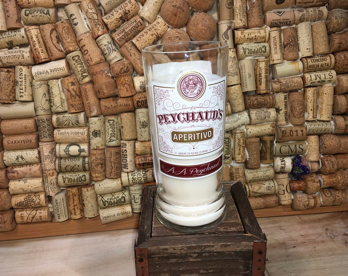FREE SHIPPING! Soy candle in a Peychaud's Bottle, Lavender Eucalyptus scent