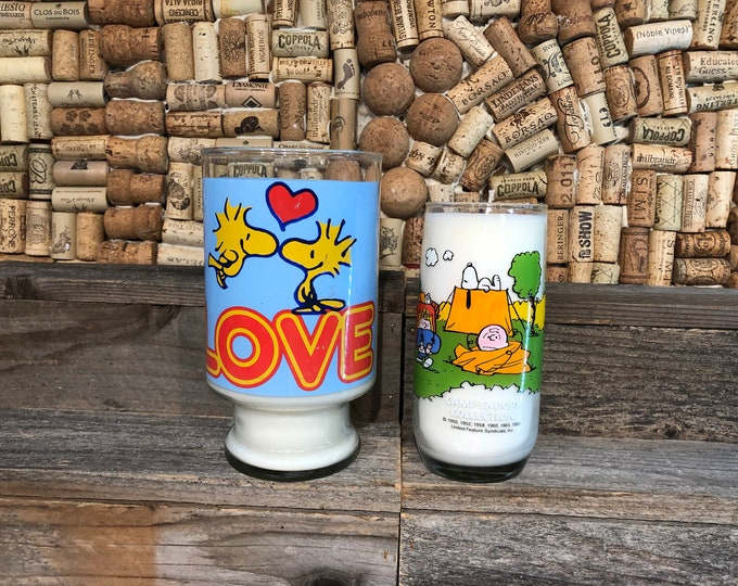 SHIPS FREE!  Soy Candle In a Vintage Snoopy Glass, Choose Your Glass