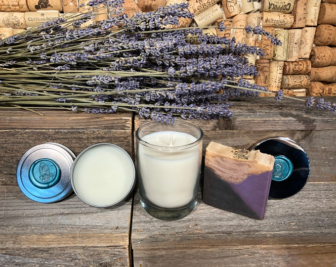 Lavender Lovers Gift Set, Soap, Candle, Salve