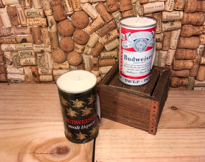 FREE SHIPPING! Vintage Budweiser Can with a soy candle, choose your scent