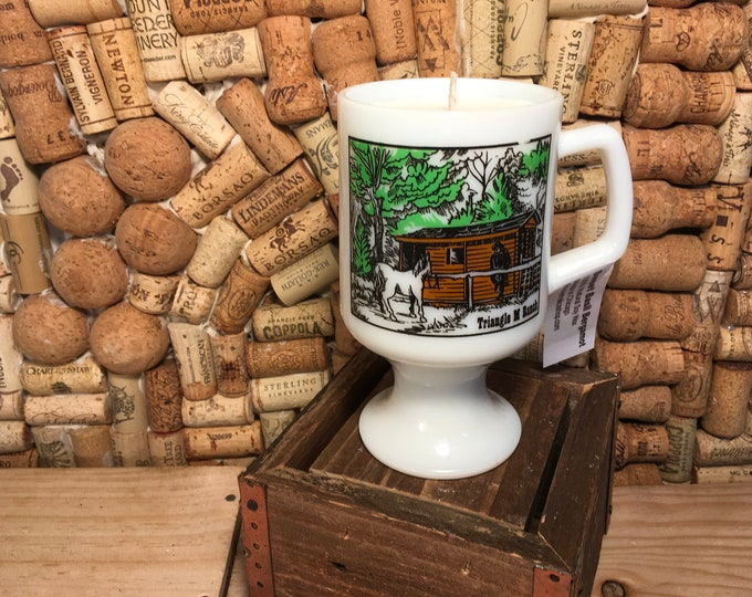 FREE SHIPPING! Vintage Milk Glass Scout Horse Ranch Mug, Soy Hazelnut Coffee scented candle