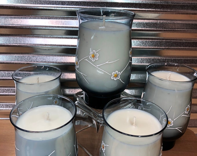 Vintage smoky blue dogwood floral  glass filled with a soy candle, Daydream scent. SHIPS FREE!