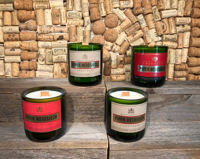 FREE SHIPPING! Charles Heidsieck Champagne Bottle Candle, Champagne Cocktail Scent, Wood Wick