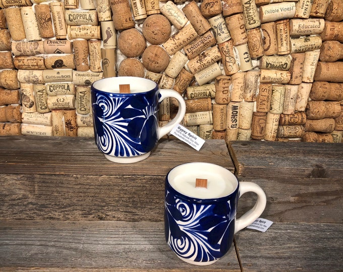 Pair of handmade Vintage ceramic blue and white mugs, Soy Gypsy Spirit scent, ships free