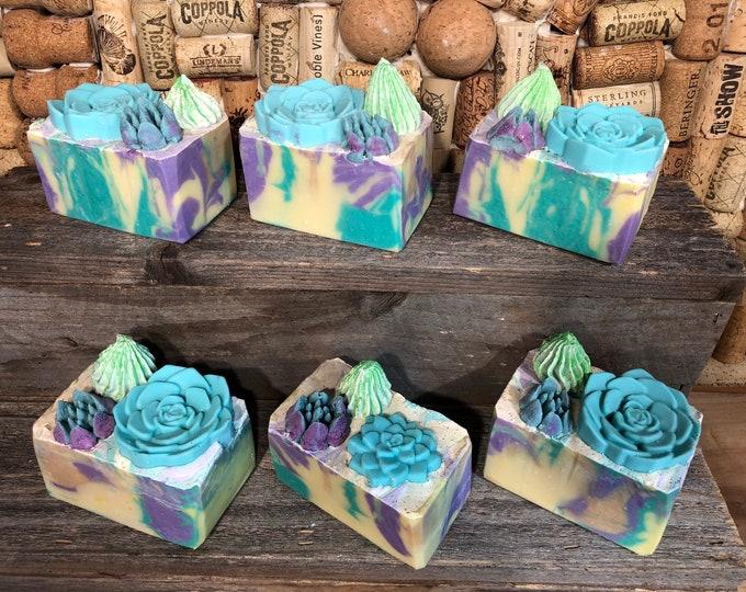 Cactus Garden soap, Lemon Eucalyptus, Vegan Cold Process Soap