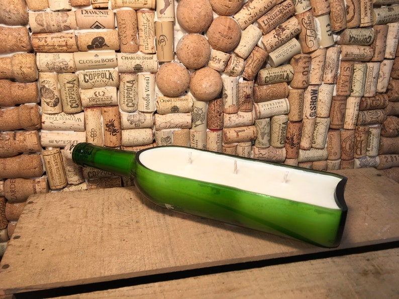 Triple Wick Horizontal Wine bottle boat with a Girl Gang Scented Soy Candle FREE SHIPPING!