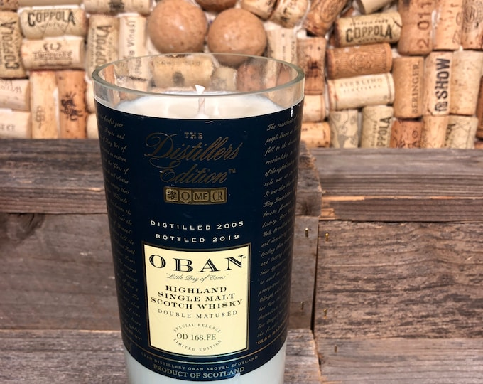 Oban Distillers Edition 14yr Scotch Whiskey soy candle, Smoky Embers scent