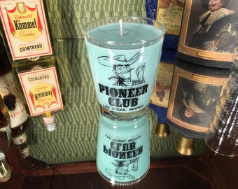 Vintage Cowboy Glass with a Soy Lemon Eucalyptus Candle