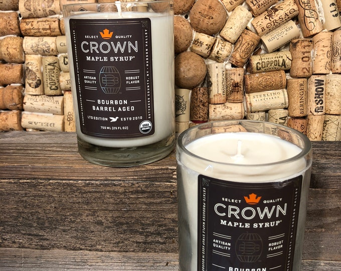 FREE SHIPPING! Crown Bourbon Barrel Aged Maple Syrup bottle with a Smoky Embers Scent