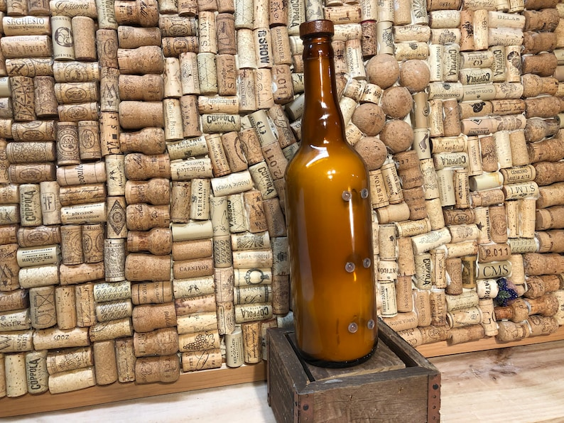 Side cut Recycled Beer Bottle With A Triple Wick Amber And Caramel Soy Candle FREE SHIPPING