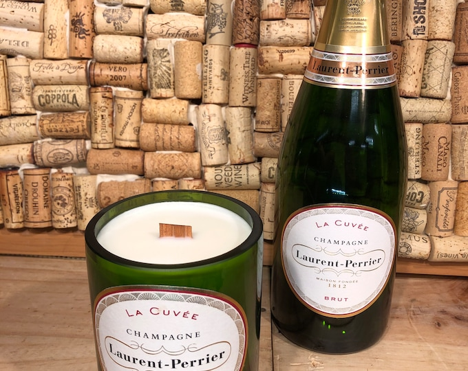 Laurent Perrier Cuvee Champagne  Bottle, Wood Wick Candle, Champagne Cocktail Scent