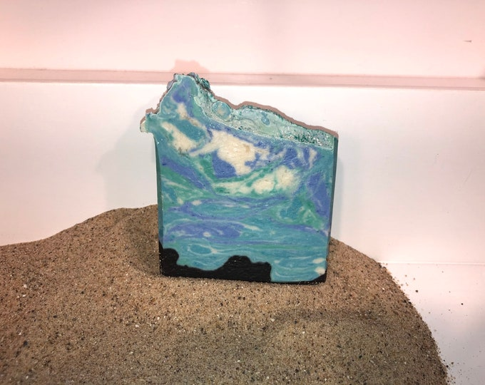 Seaside Holiday Vegan Soap, Cold Process, w Activated Charcoal