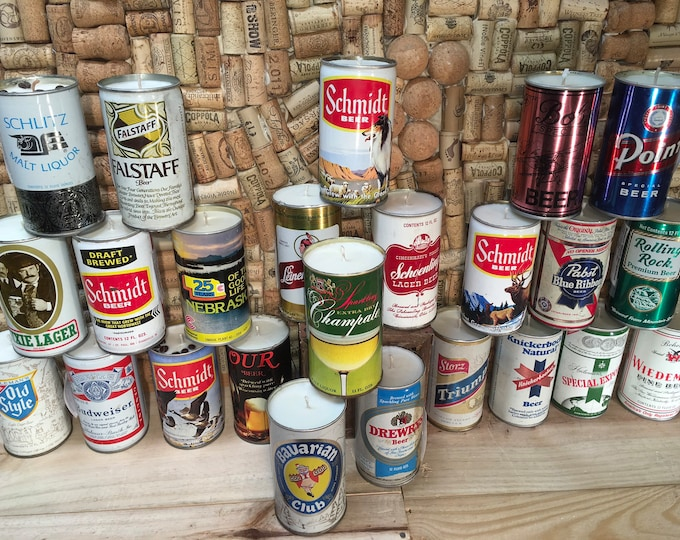 FREE SHIPPING! Bulk order of 24 Vintage Beer Can Soy Candles