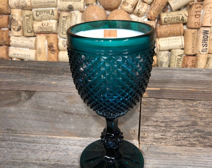 Vintage Indiana Blue Diamond Point wine glass filled with a soy candle, Bohemian Queen scent. SHIPS FREE!