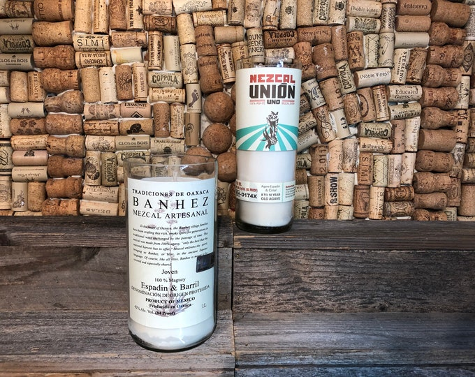 FREE SHIPPING! Soy Candle in a Mezcal Bottle, Choose Your Label