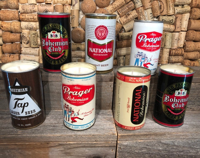 Vintage 70's beer can filled with a soy candle, Bohemian Queen scent. SHIPS FREE!