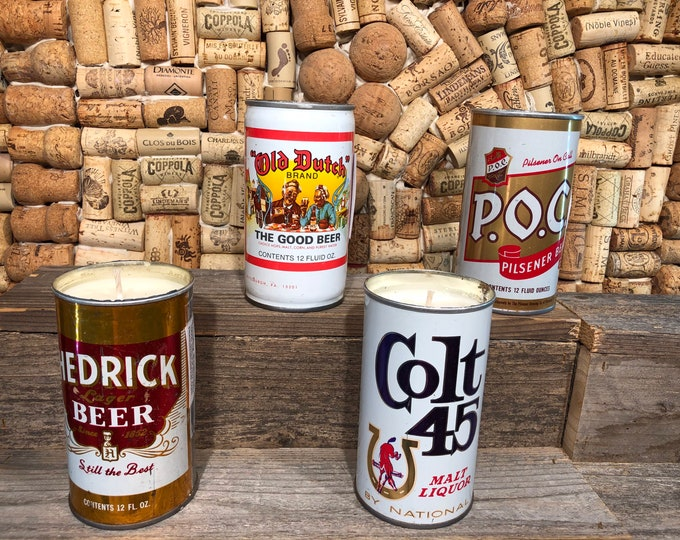 Vintage Beer Can Candle Soy Smoky Embers scent, Choose your can